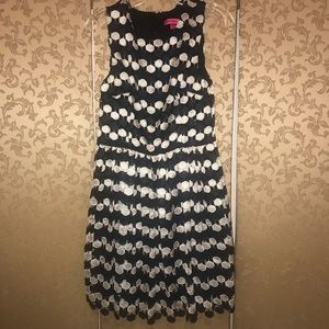 Betsey Johnson Black White Lace Embroidered Dress
